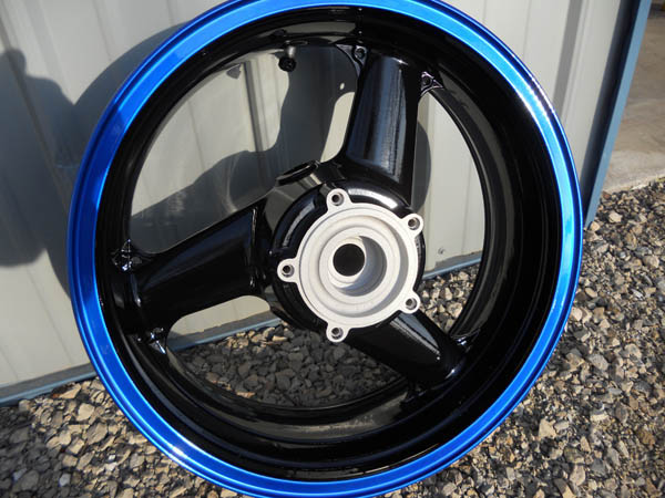 custom powder coated blue rim